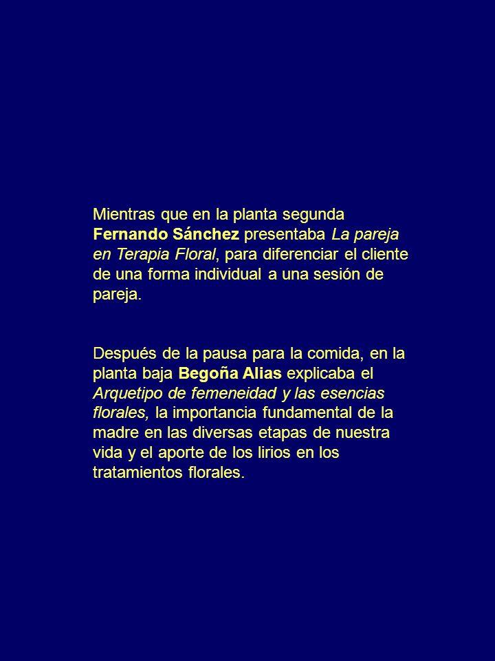 Mientras que en la planta segunda Fernando Sánchez presentaba La pareja en Terapia Floral, para diferenciar el cliente de una forma individual a una sesión de pareja.