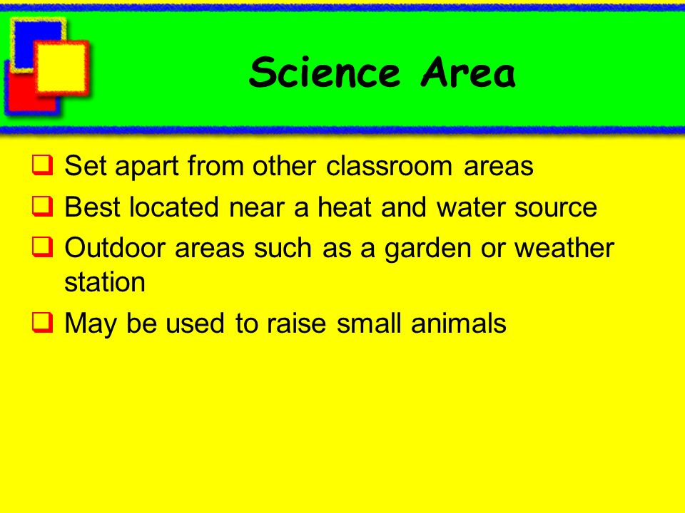 Science Area Set apart from other classroom areas