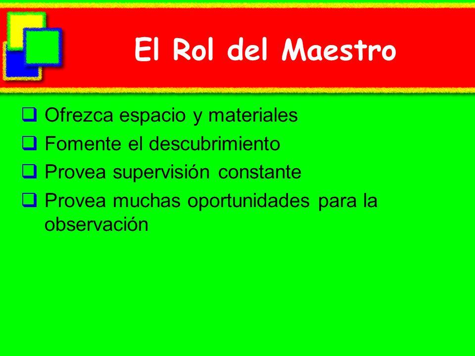 El Rol del Maestro Ofrezca espacio y materiales