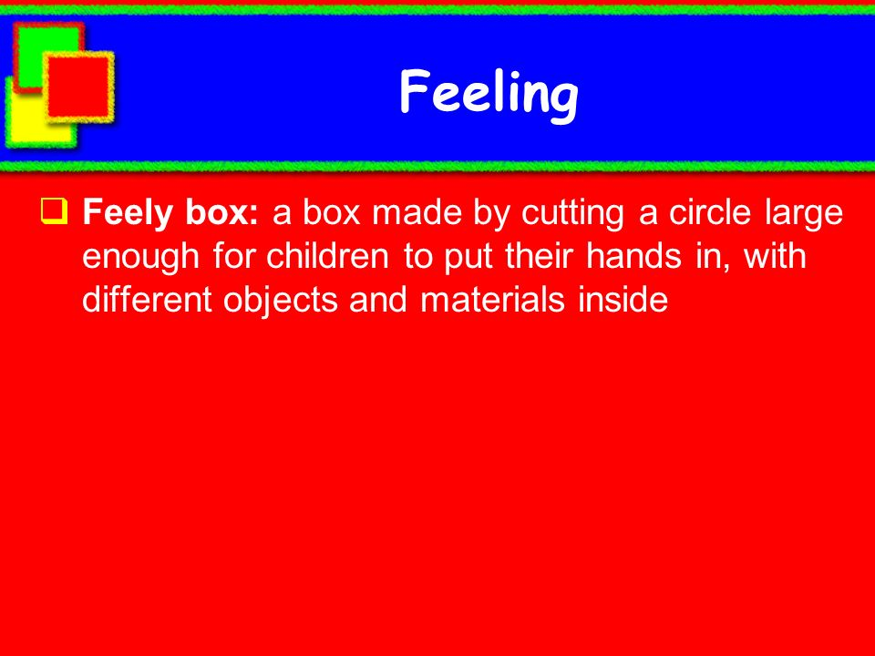 Feeling Feely box: a box made by cutting a circle large enough for children to put their hands in, with different objects and materials inside.