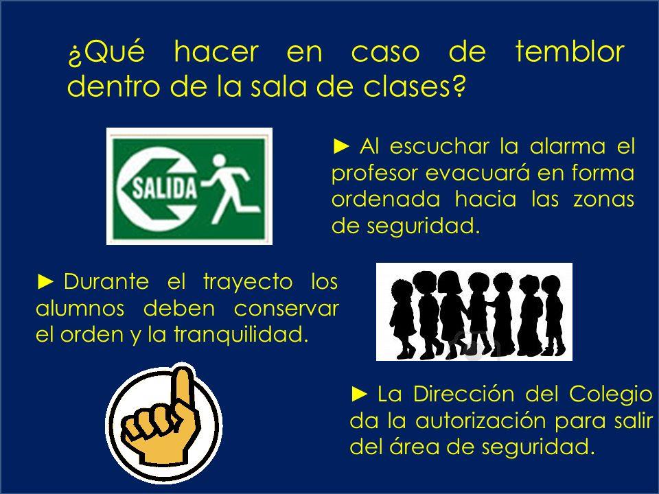 ¿Qué hacer en caso de temblor dentro de la sala de clases