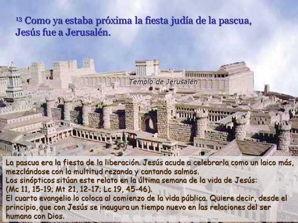 13 Como ya estaba próxima la fiesta judía de la pascua, Jesús fue a Jerusalén.