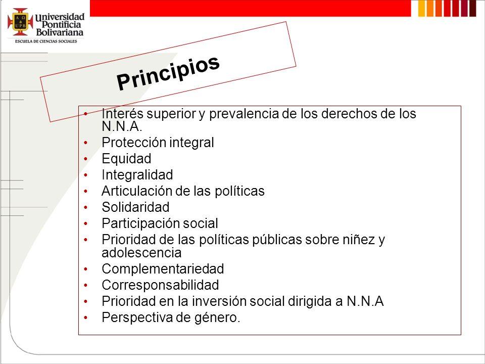 Principios Interés superior y prevalencia de los derechos de los N.N.A. Protección integral. Equidad.
