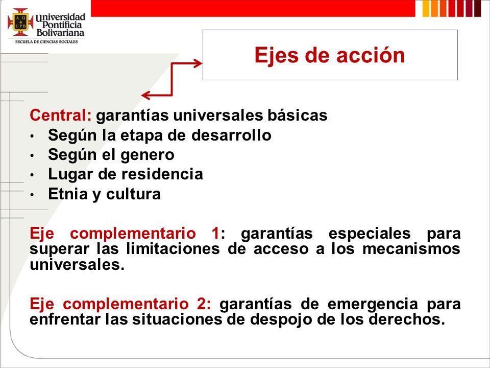 Ejes de acción Central: garantías universales básicas