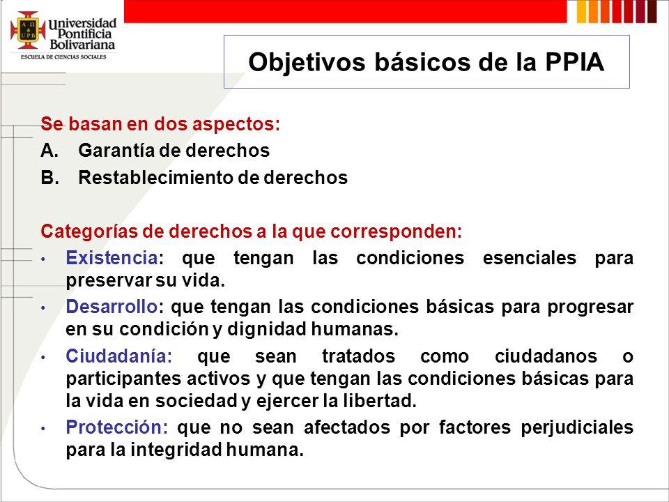 Objetivos básicos de la PPIA