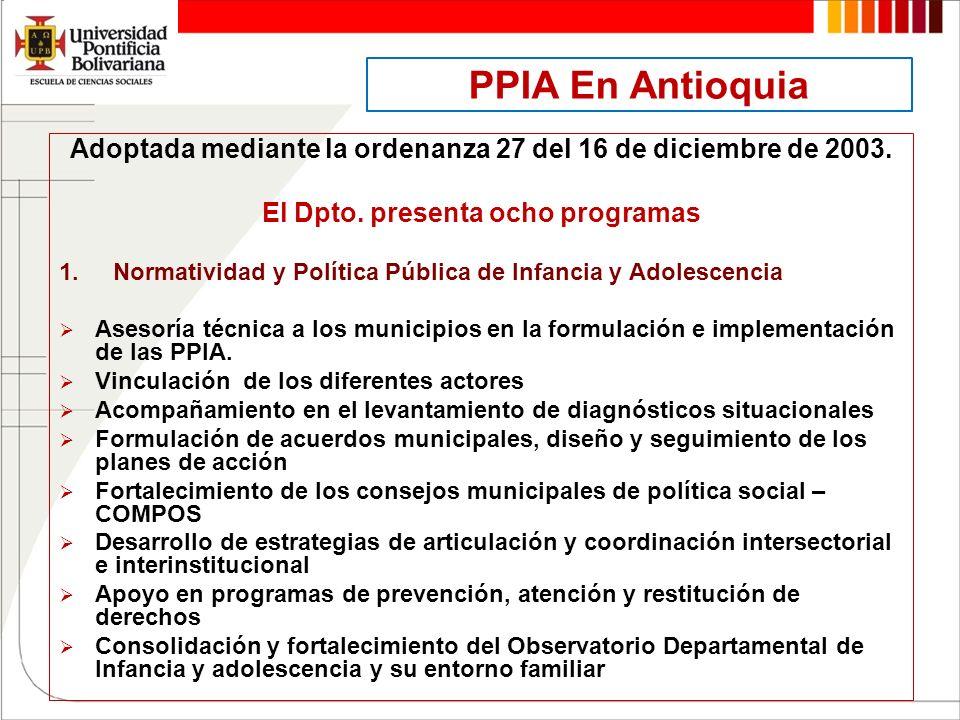 PPIA En Antioquia Adoptada mediante la ordenanza 27 del 16 de diciembre de 2003. El Dpto. presenta ocho programas.