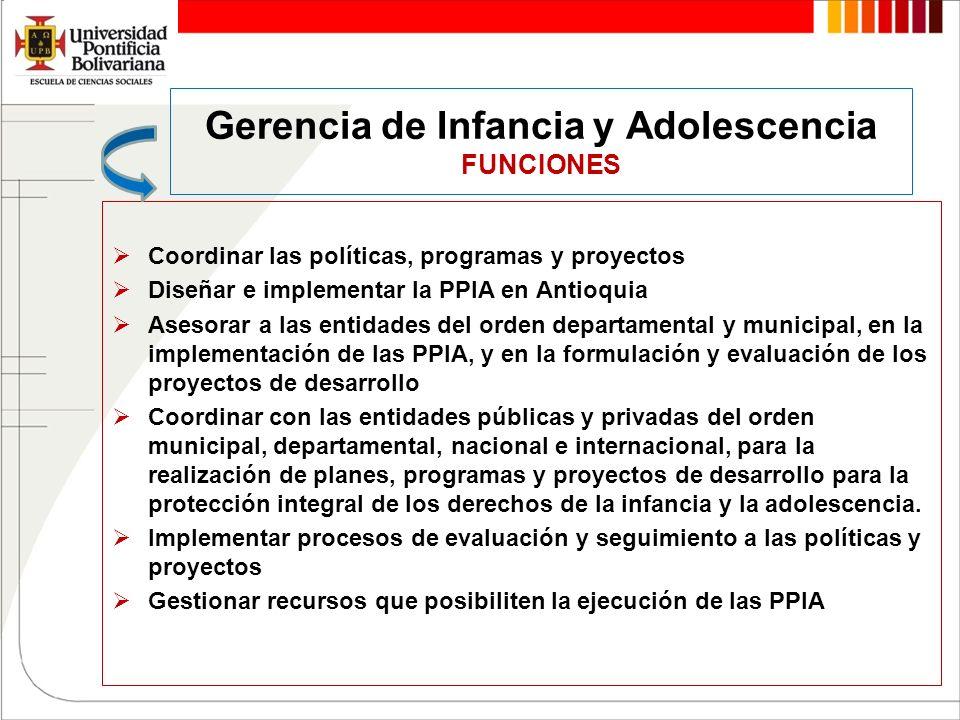Gerencia de Infancia y Adolescencia FUNCIONES