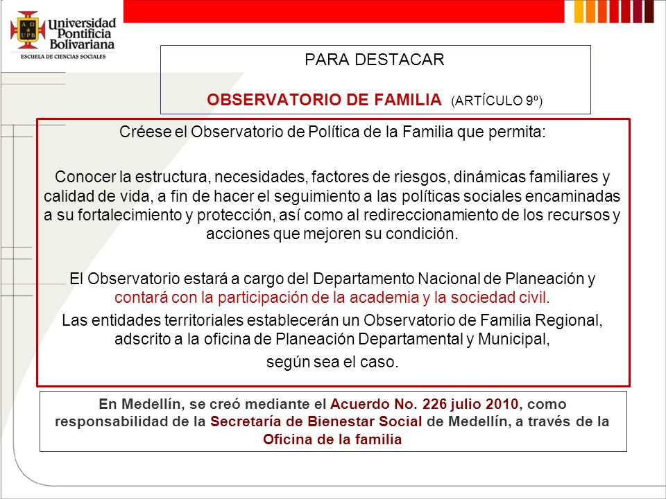 PARA DESTACAR OBSERVATORIO DE FAMILIA (ARTÍCULO 9º)
