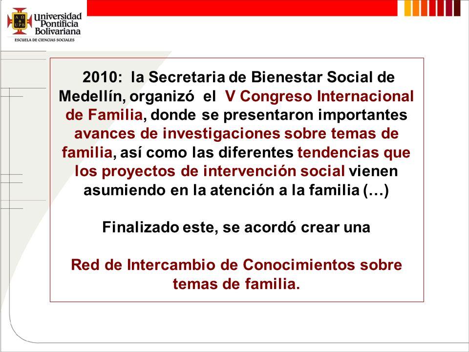 2010: la Secretaria de Bienestar Social de Medellín, organizó el V Congreso Internacional de Familia, donde se presentaron importantes avances de investigaciones sobre temas de familia, así como las diferentes tendencias que los proyectos de intervención social vienen asumiendo en la atención a la familia (…) Finalizado este, se acordó crear una Red de Intercambio de Conocimientos sobre temas de familia.
