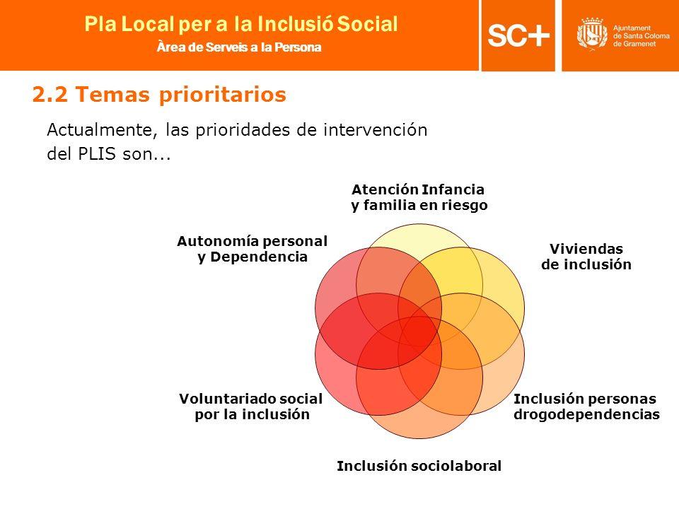 2.2 Temas prioritarios Actualmente, las prioridades de intervención