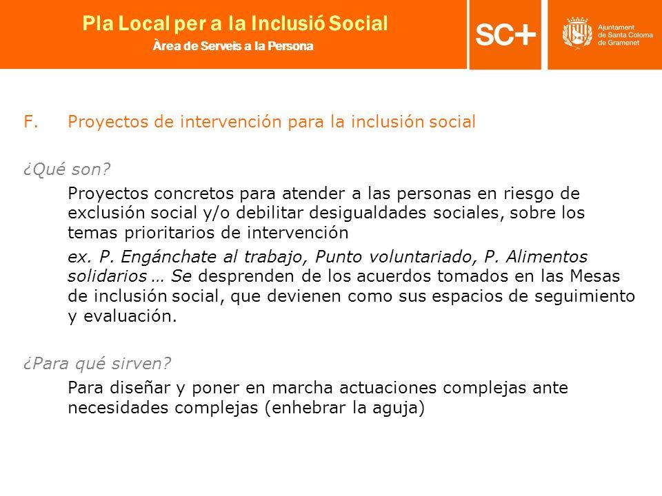 Proyectos de intervención para la inclusión social