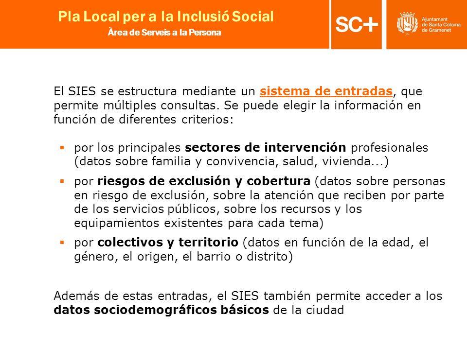 El SIES se estructura mediante un sistema de entradas, que permite múltiples consultas. Se puede elegir la información en función de diferentes criterios: