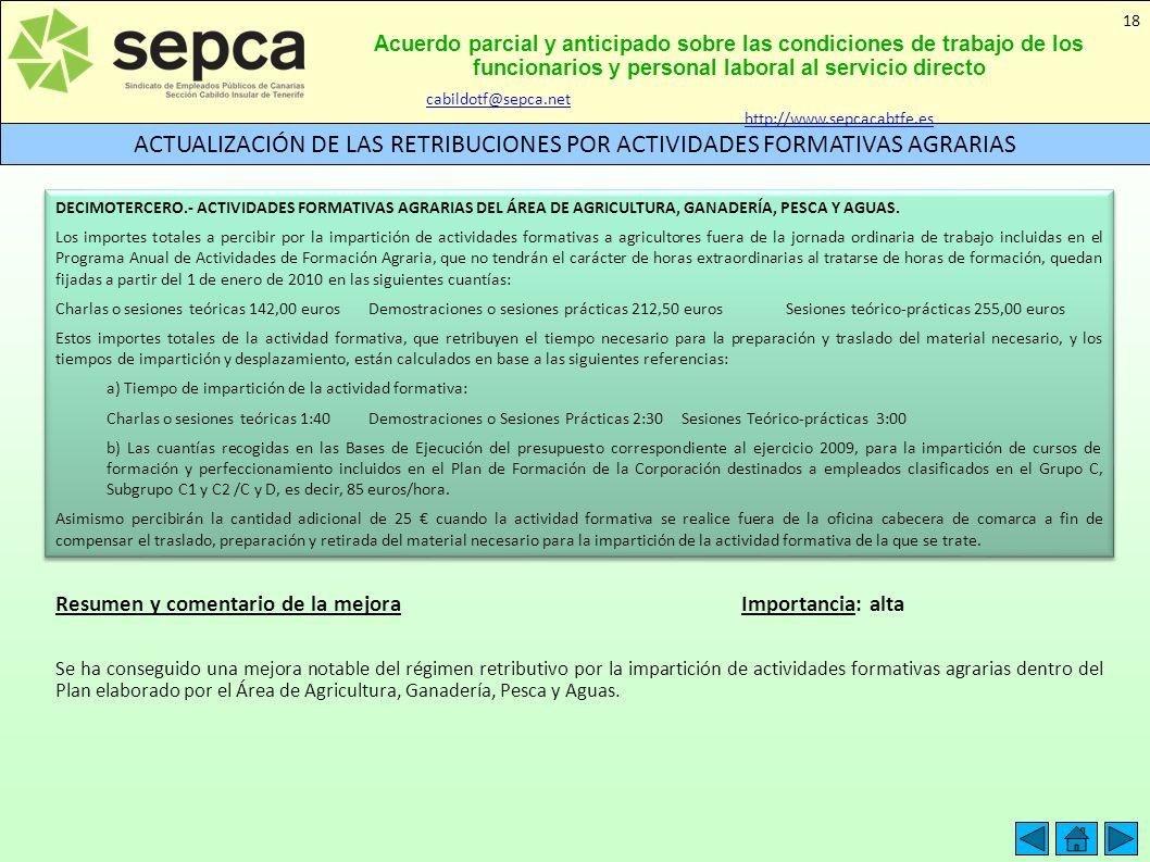 ACTUALIZACIÓN DE LAS RETRIBUCIONES POR ACTIVIDADES FORMATIVAS AGRARIAS