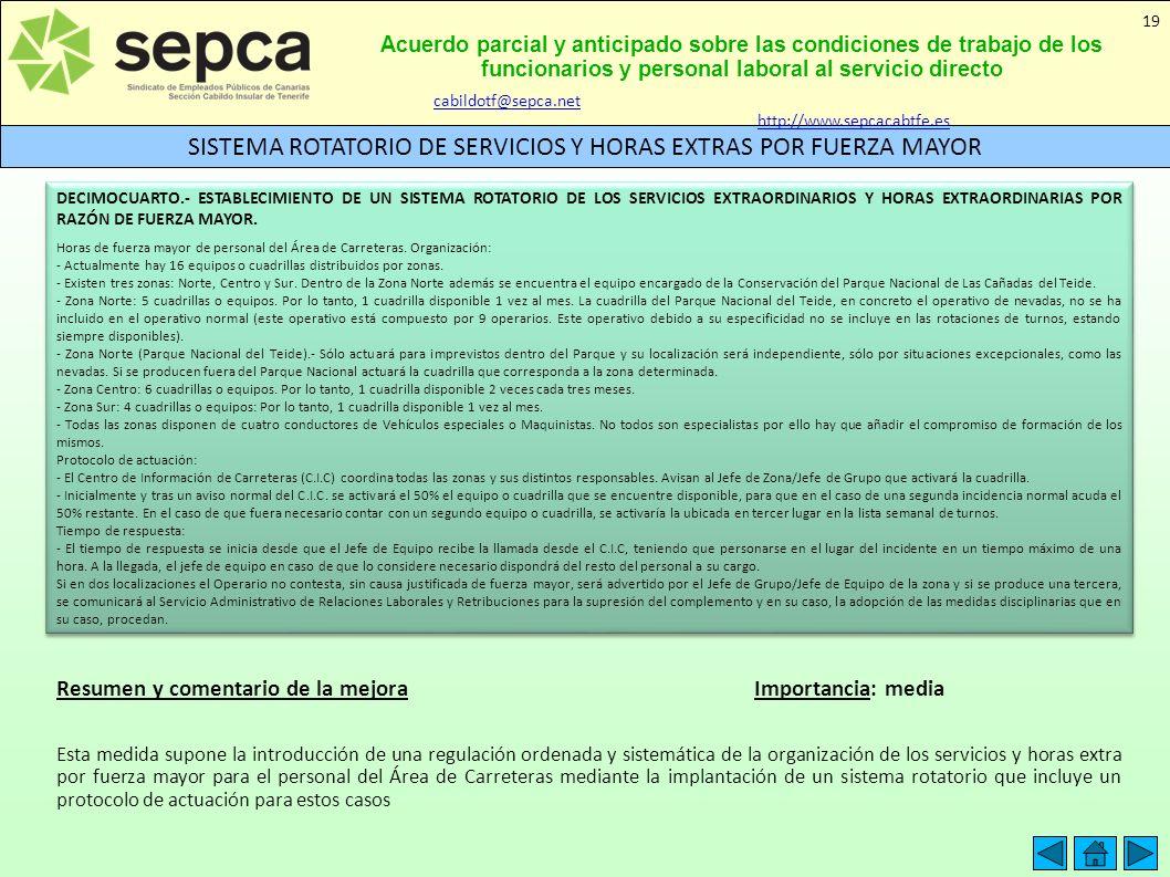 SISTEMA ROTATORIO DE SERVICIOS Y HORAS EXTRAS POR FUERZA MAYOR