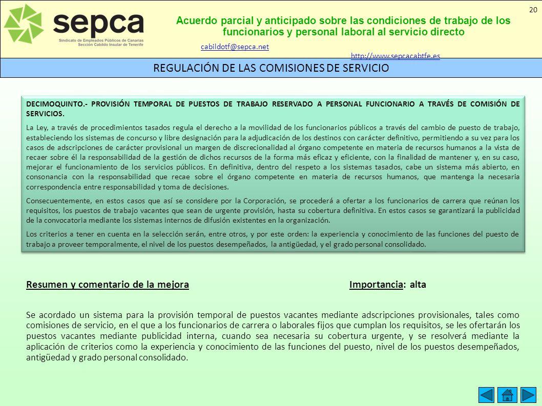 REGULACIÓN DE LAS COMISIONES DE SERVICIO