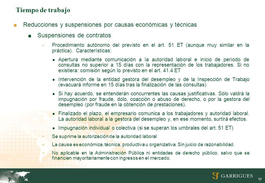 Tiempo de trabajo Reducciones y suspensiones por causas económicas y técnicas. Suspensiones de contratos.