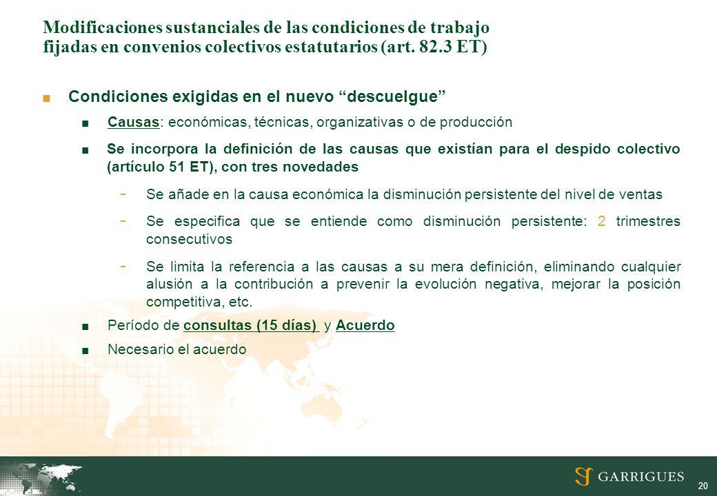 Modificaciones sustanciales de las condiciones de trabajo fijadas en convenios colectivos estatutarios (art. 82.3 ET)