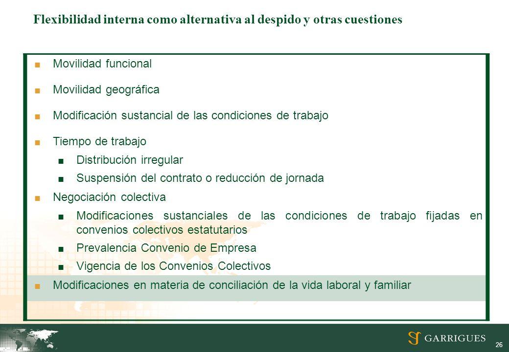 Flexibilidad interna como alternativa al despido y otras cuestiones