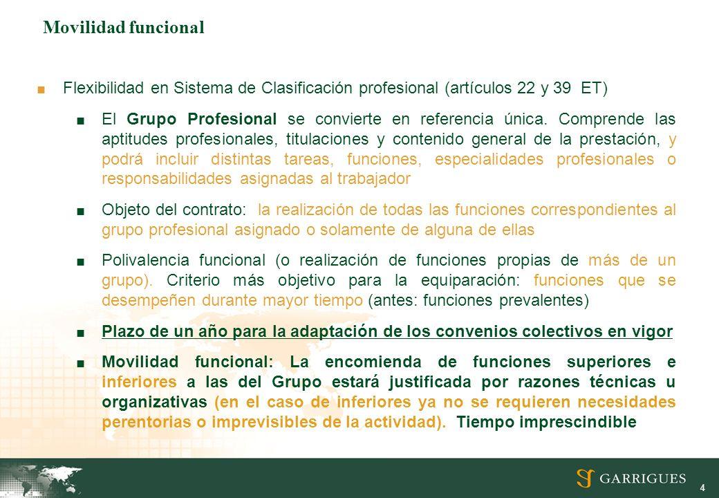 Movilidad funcional Flexibilidad en Sistema de Clasificación profesional (artículos 22 y 39 ET)