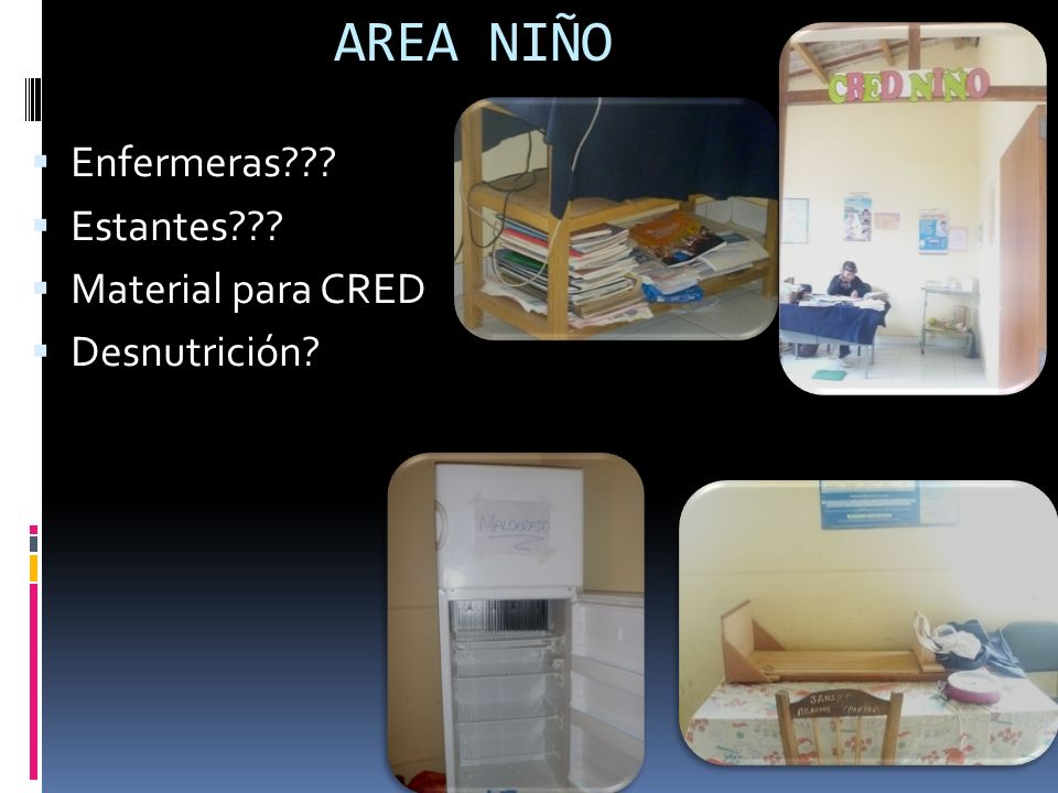 AREA NIÑO Enfermeras Estantes Material para CRED Desnutrición