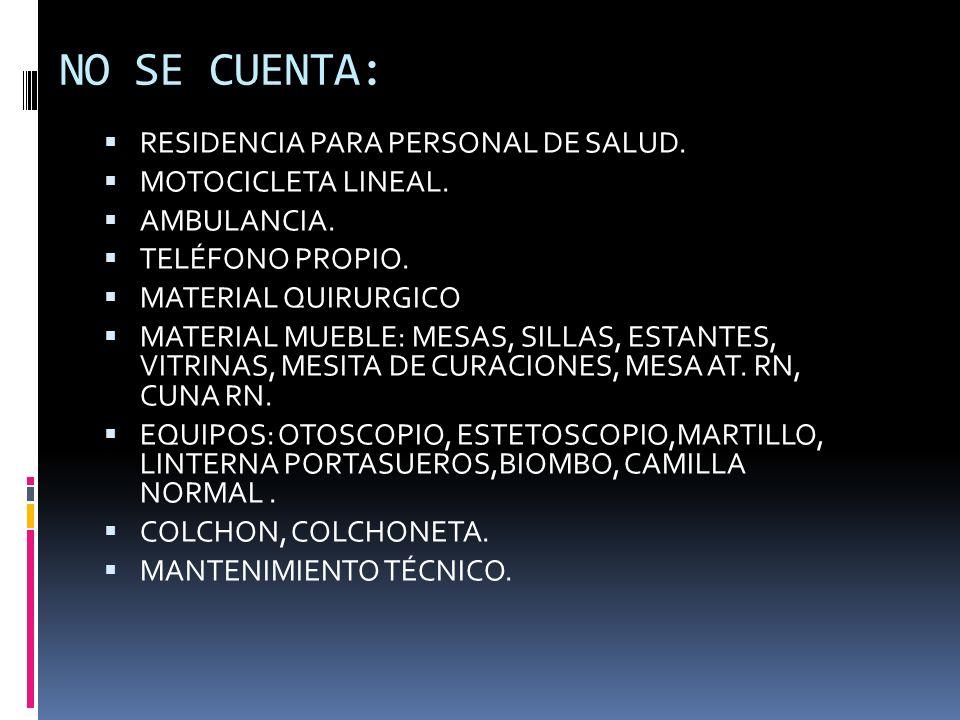 NO SE CUENTA: RESIDENCIA PARA PERSONAL DE SALUD. MOTOCICLETA LINEAL.