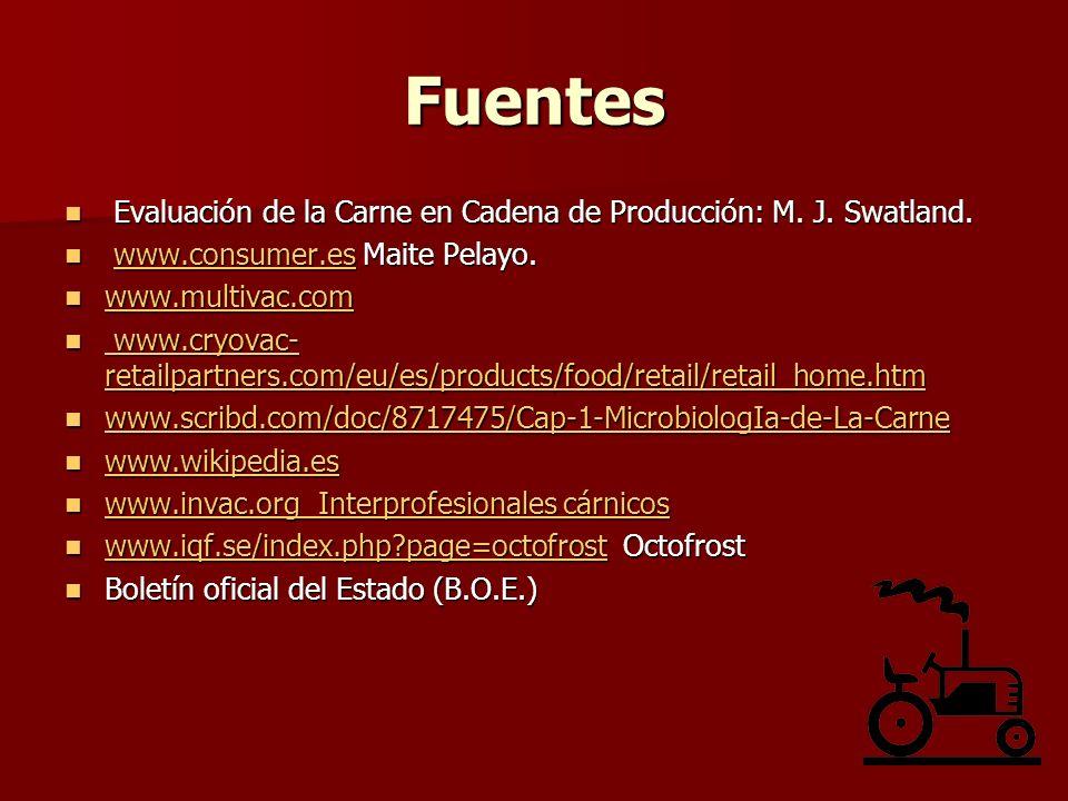 Fuentes Evaluación de la Carne en Cadena de Producción: M. J. Swatland. www.consumer.es Maite Pelayo.