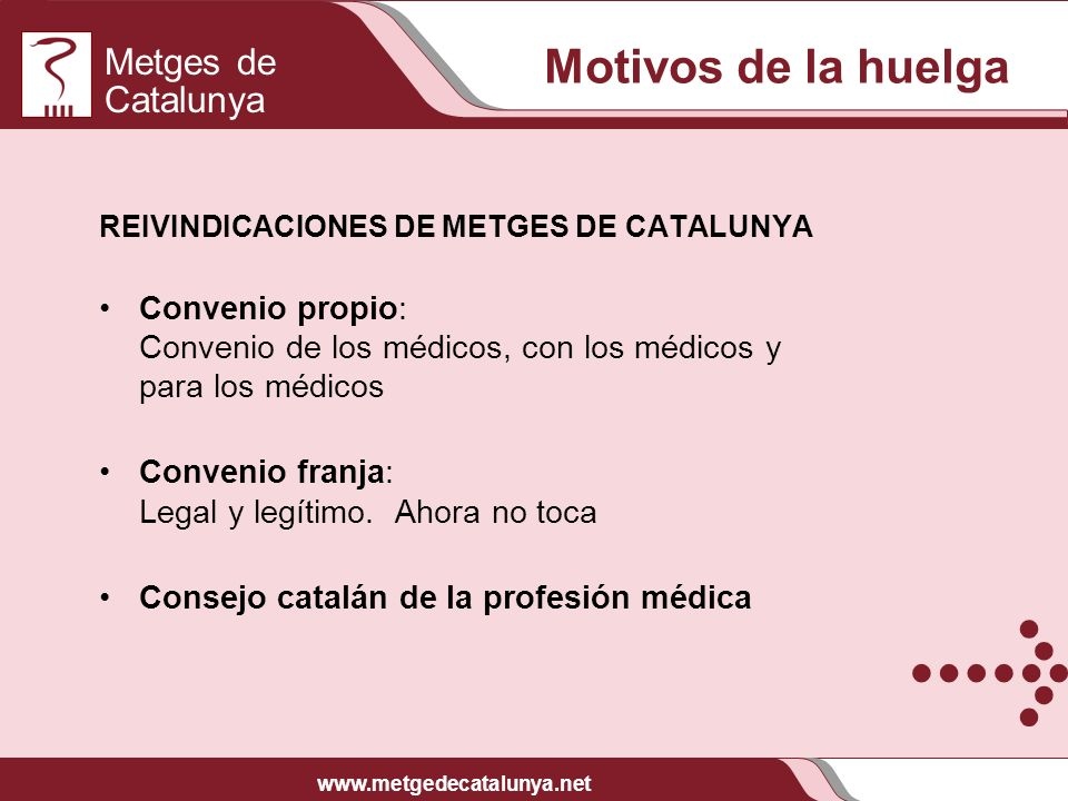 Motivos de la huelga REIVINDICACIONES DE METGES DE CATALUNYA. Convenio propio: Convenio de los médicos, con los médicos y para los médicos.