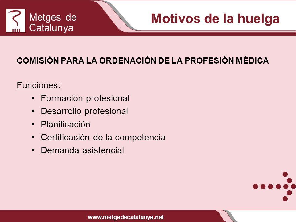 Motivos de la huelga Funciones: Formación profesional