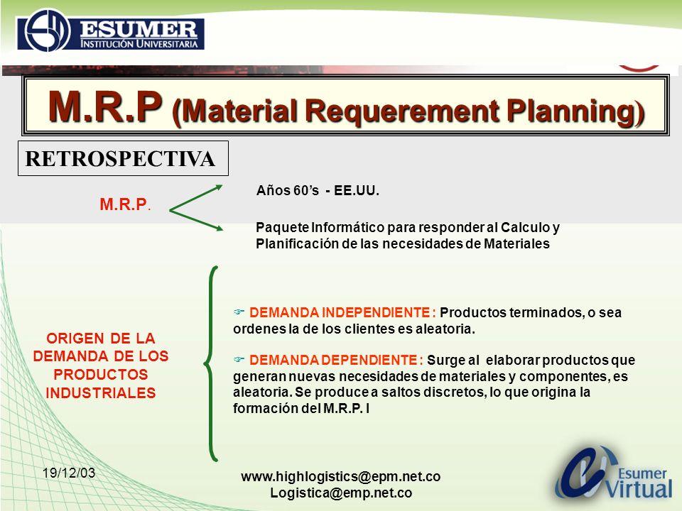 M.R.P (Material Requerement Planning)