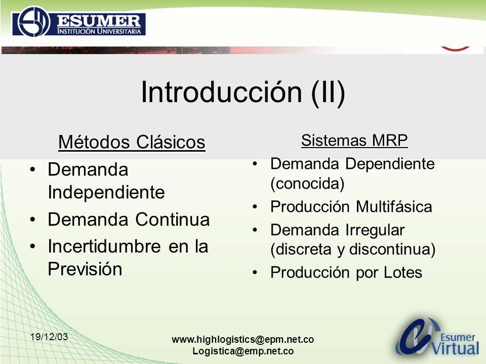 Introducción (II) Métodos Clásicos Demanda Independiente