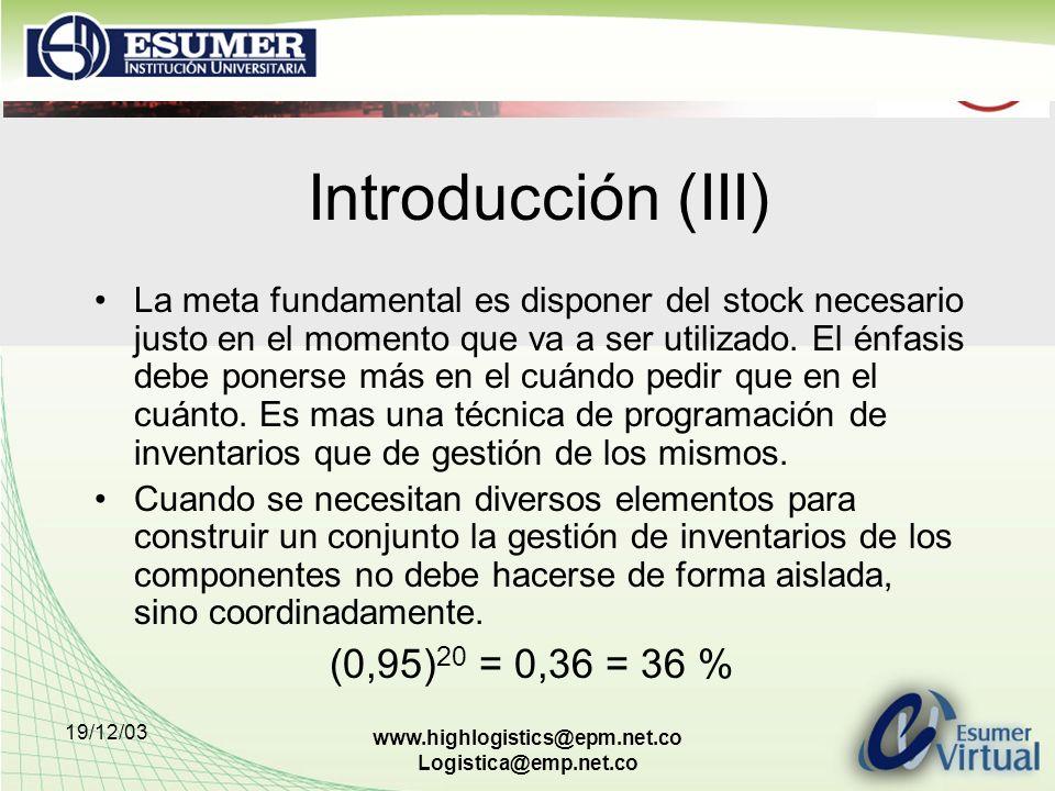 Introducción (III) (0,95)20 = 0,36 = 36 %