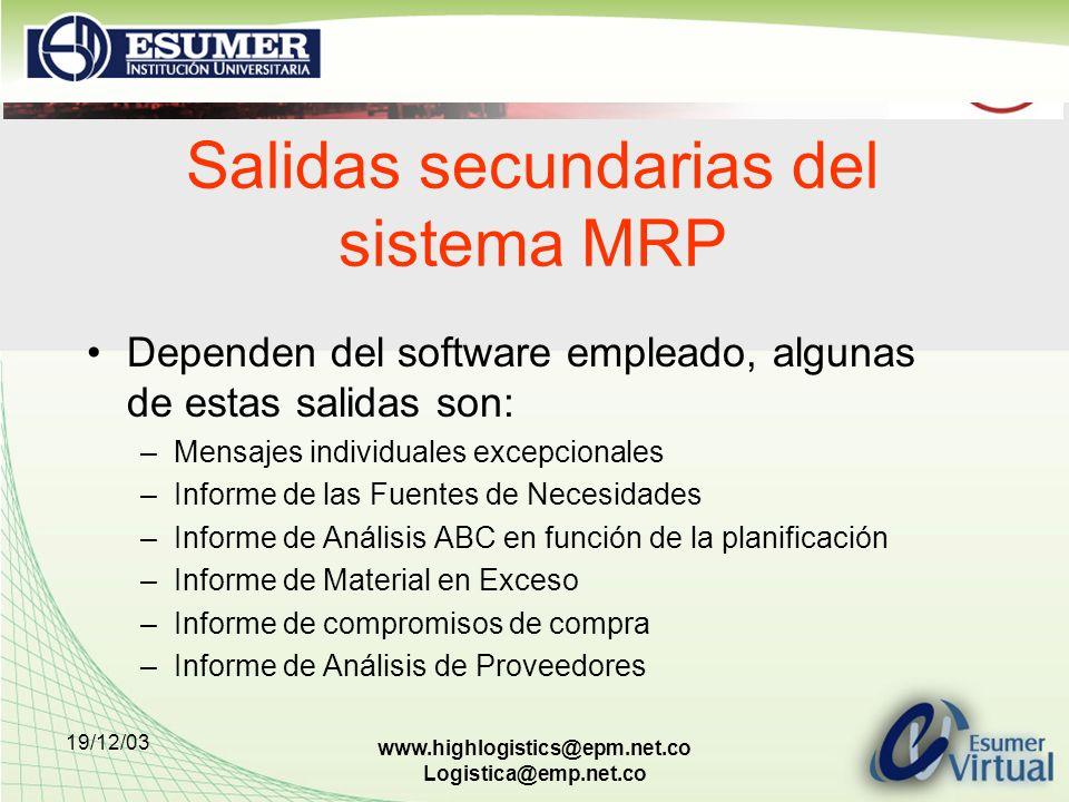 Salidas secundarias del sistema MRP