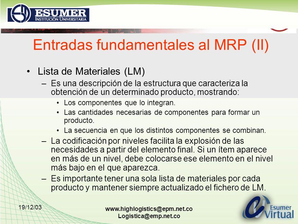Entradas fundamentales al MRP (II)