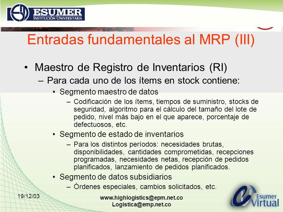Entradas fundamentales al MRP (III)