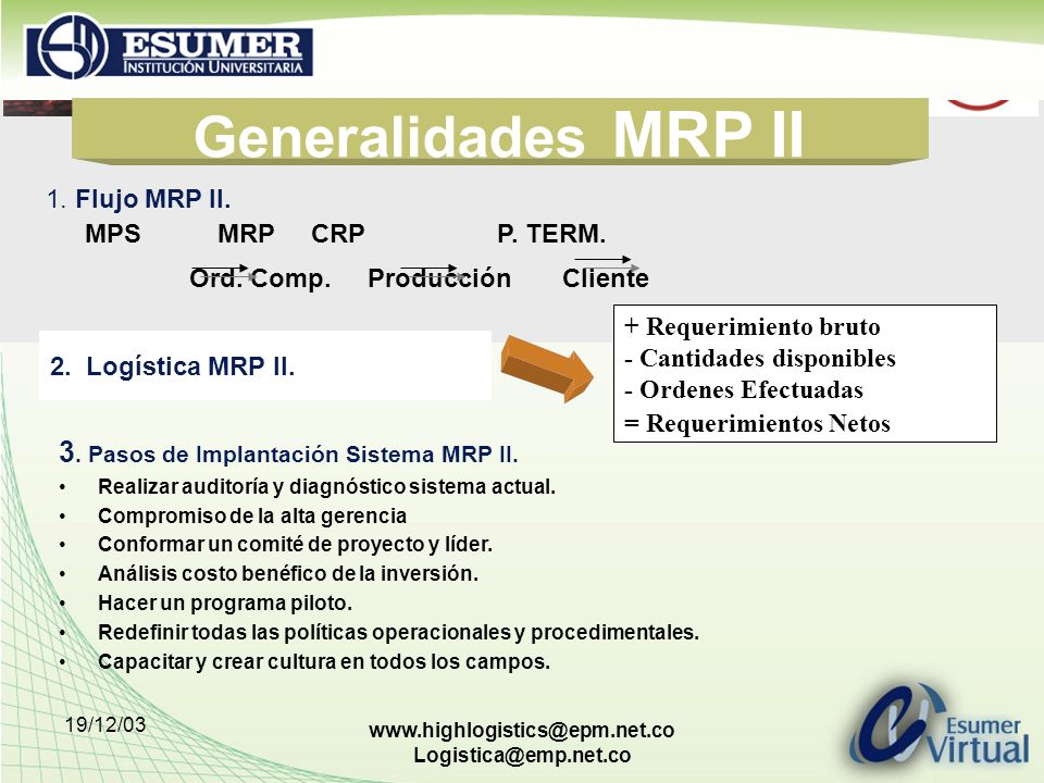 Generalidades MRP II 3. Pasos de Implantación Sistema MRP II.