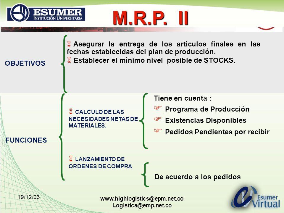 M.R.P. II Programa de Producción Existencias Disponibles