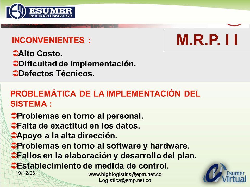 M.R.P. I I INCONVENIENTES : Alto Costo. Dificultad de Implementación.