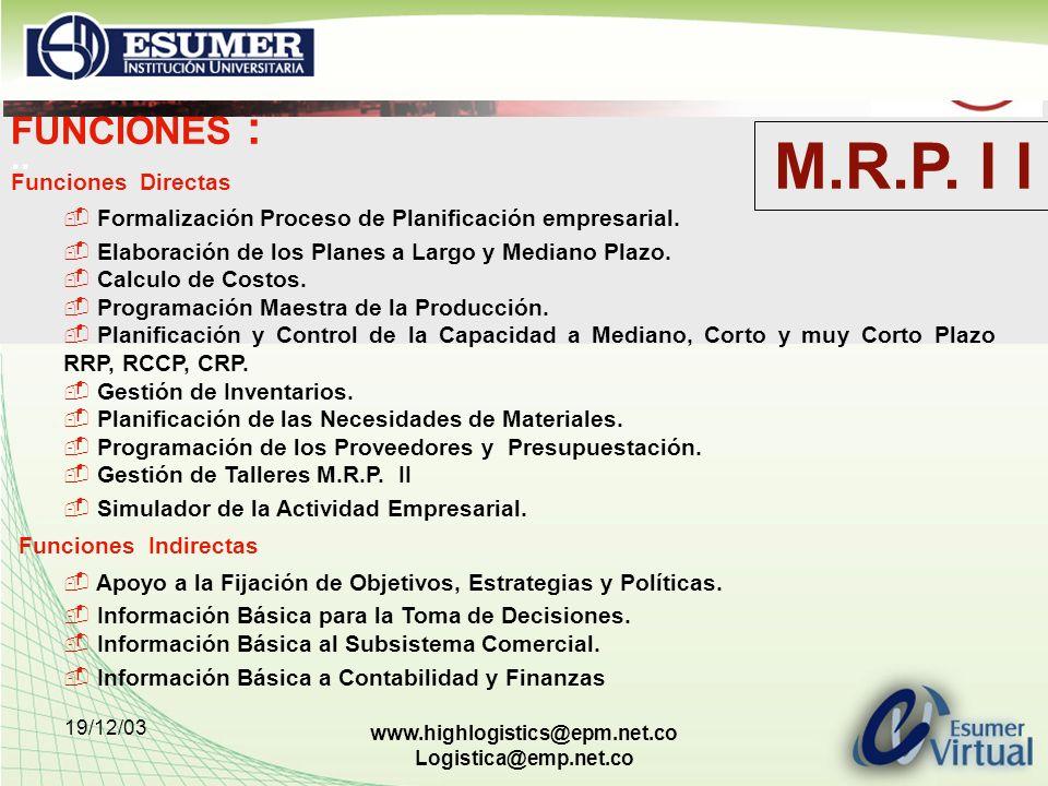 M.R.P. I I FUNCIONES : .. Funciones Indirectas Funciones Directas