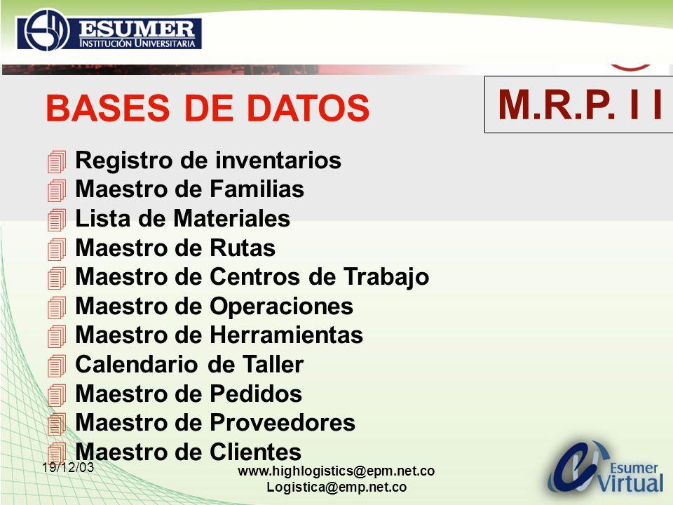 M.R.P. I I BASES DE DATOS Registro de inventarios Maestro de Familias