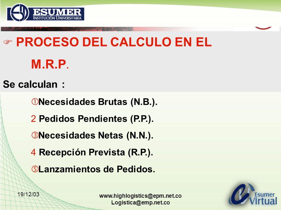 PROCESO DEL CALCULO EN EL M.R.P.