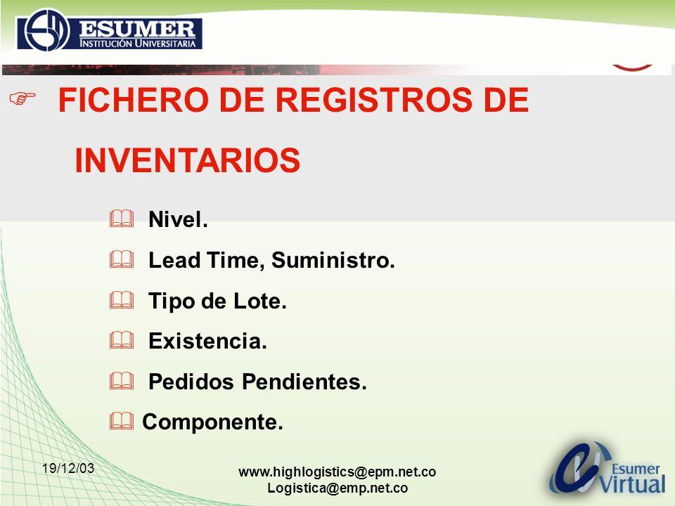 FICHERO DE REGISTROS DE INVENTARIOS
