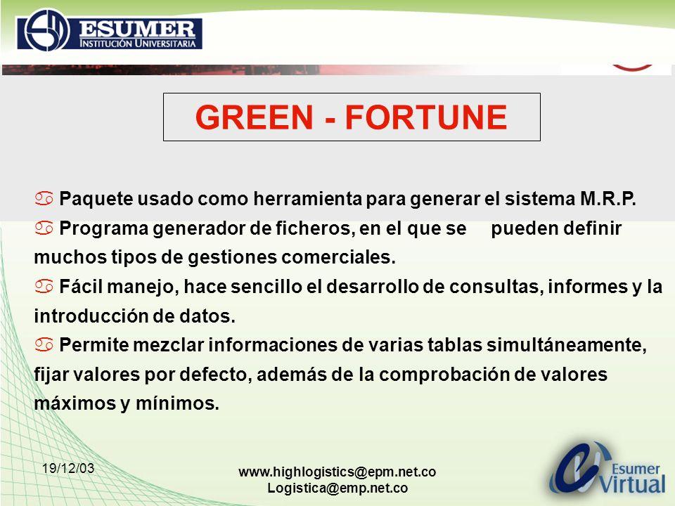 GREEN - FORTUNE Paquete usado como herramienta para generar el sistema M.R.P.