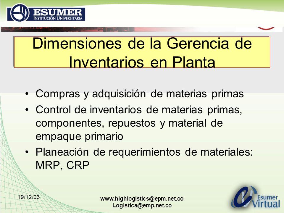 Dimensiones de la Gerencia de Inventarios en Planta
