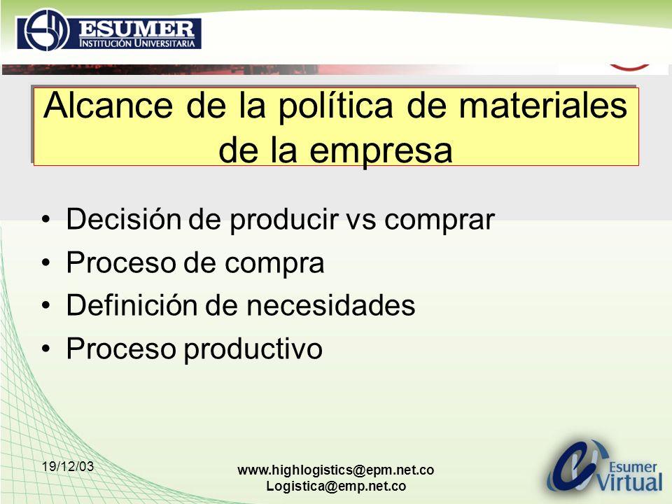 Alcance de la política de materiales de la empresa