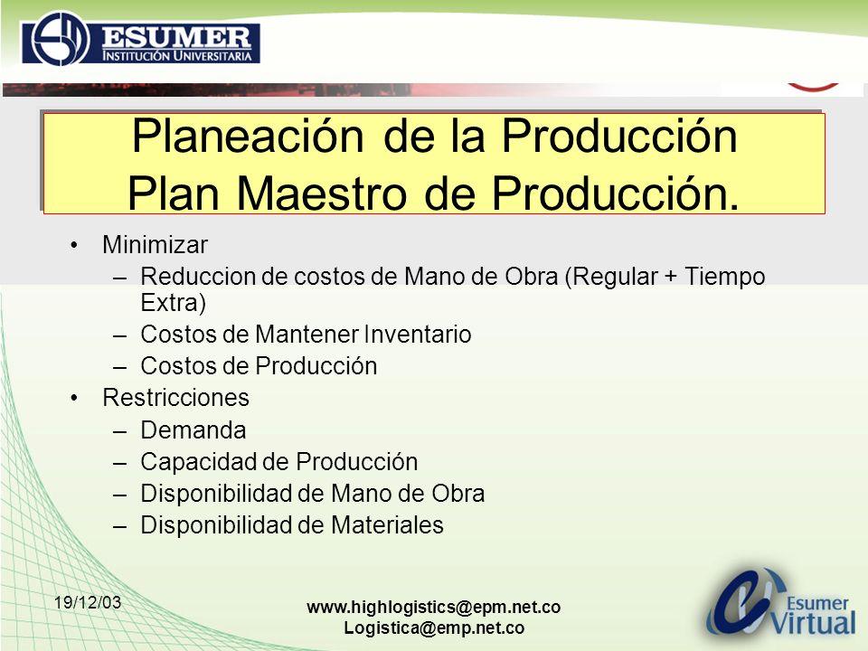 Planeación de la Producción Plan Maestro de Producción.