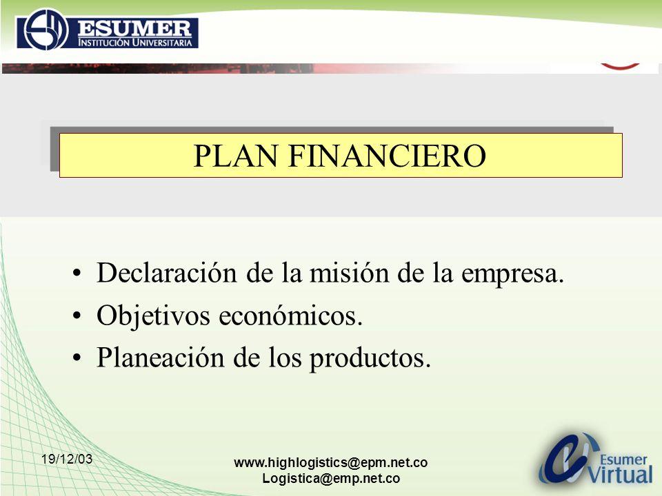 PLAN FINANCIERO Declaración de la misión de la empresa.