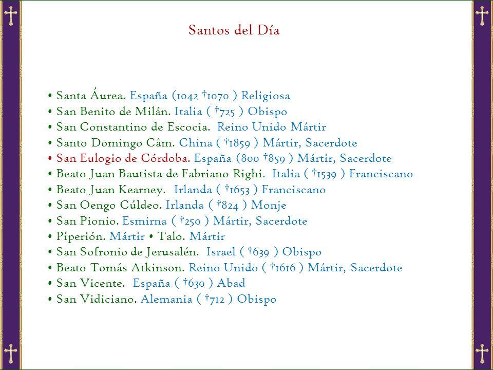Santos del Día • Santa Áurea. España (1042 †1070 ) Religiosa