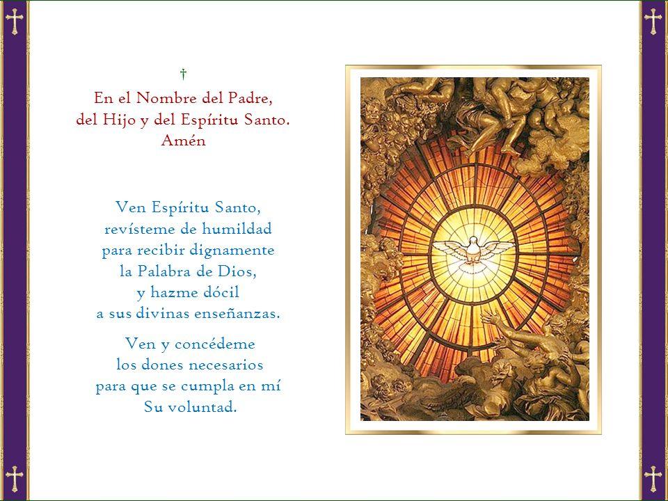 † En el Nombre del Padre, del Hijo y del Espíritu Santo. Amén
