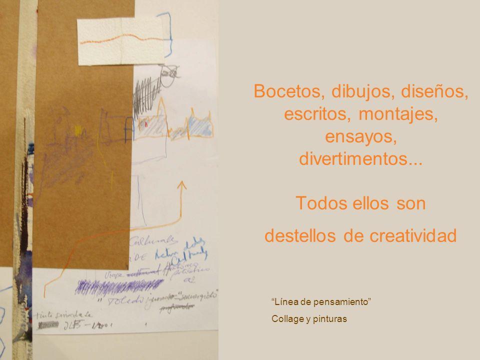 Bocetos, dibujos, diseños, escritos, montajes, ensayos, divertimentos