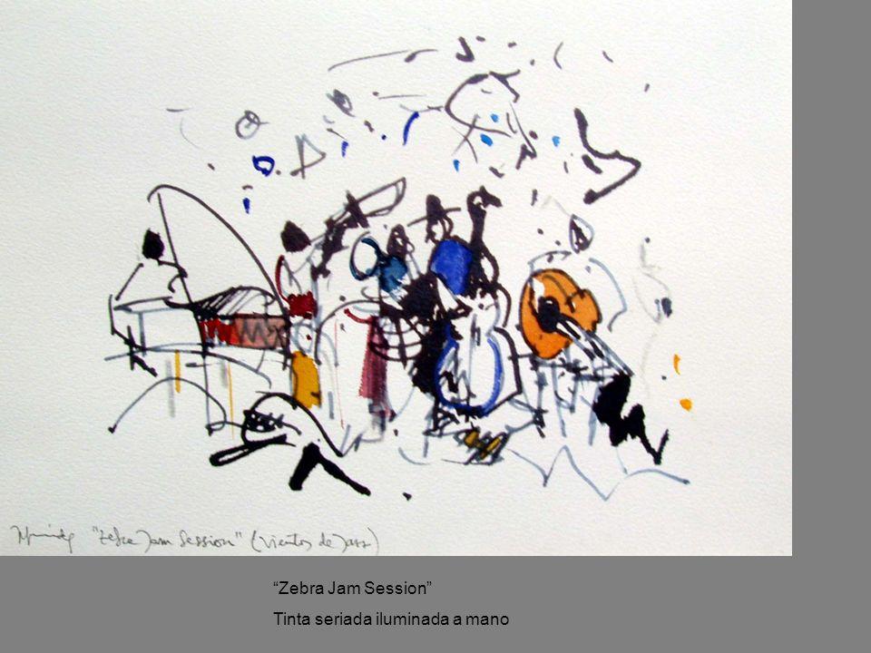 Zebra Jam Session Tinta seriada iluminada a mano